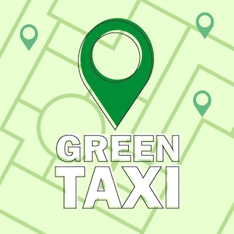 Vector modern flat creative infographics design - green taxi - eco consept - map and navigation sign