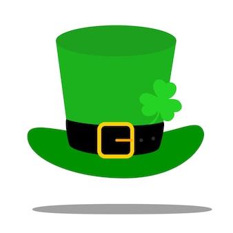 聖パトリックの日のベクトルモダンなフラットデザインレプラコーン緑の帽子とcoloverの葉