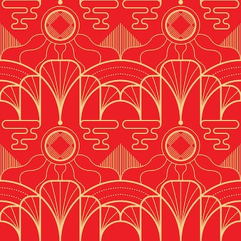 Vector modern geometric tiles asian pattern on red background.