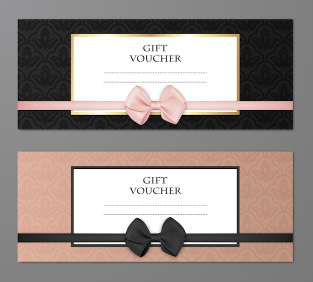 Vector modern gift voucher template set with floral pattern and beautiful bow.