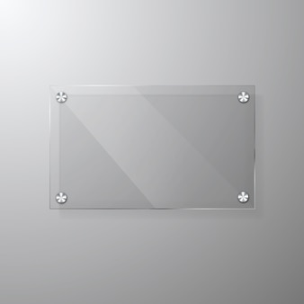 Vector modern glassy signage template with space for message.