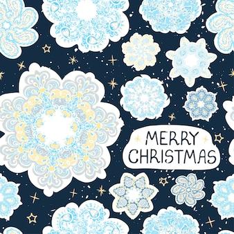 カラフルな手描きの雪片のイラストとベクトルのモダンなグリーティングカード。メリークリスマス。デザインポスター、カード、塗りつぶし、ウェブページ、包装紙、プレゼンテーションのデザインの要素として使用してください