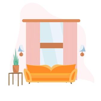 벡터 현대적인 거실 인테리어 - 주황색 소파, 꽃이 있는 찬장, 커튼. 평면 스타일의 그림입니다.