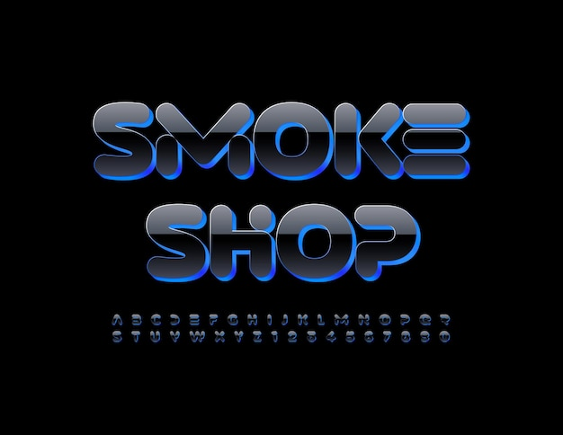 Vector modern logo smoke shop creative shiny font blue and black alphabet letters and numbers set