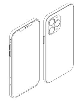 Vector modern phone - outline isometric smartphone illustration