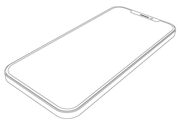 Vector modern phone - outline smartphone illustration