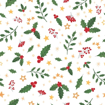Vector modern seamless pattern with colorful hand draw illustration of christmas decorations holly. wallpaper, textile print, fills, web page, surface textures, wrapping paper, design of presentation