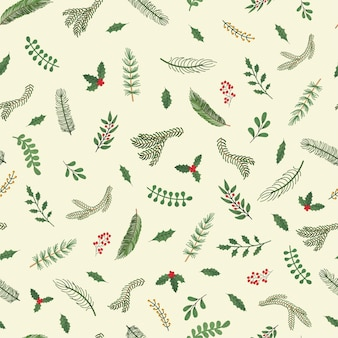 Vector modern seamless pattern with colorful hand draw illustration of christmas plants. use it for wallpaper, textile print, fills, web page, surface textures, wrapping paper, design of presentation