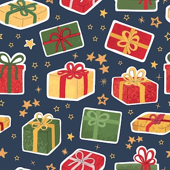 カラフルな手描きのクリスマスプレゼントのイラストでモダンなシームレスパターンをベクトルします。壁紙、テキスタイルプリント、パターンフィル、webページ、表面テクスチャ、包装紙、プレゼンテーションのデザイン