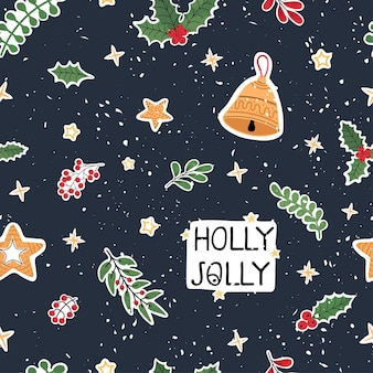 クリスマスアイテムのカラフルな手描きイラストでモダンなシームレスパターンをベクトルします。
