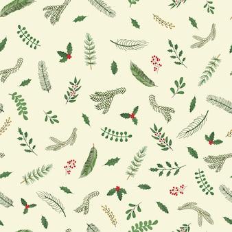クリスマスの植物のカラフルな手描きイラストでモダンなシームレスパターンをベクトルします。壁紙、テキスタイルプリント、塗りつぶし、webページ、表面テクスチャ、包装紙、プレゼンテーションのデザインに使用します