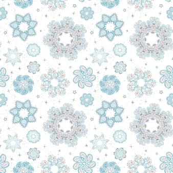 雪片のカラフルな手描きイラストとベクトルのモダンなシームレスパターン