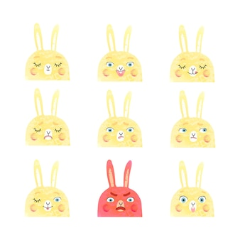 Vector modern set with cute illustrations of bunnies with different emotions Premium Vector