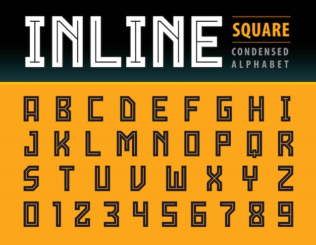 Vector of modern square alphabet letters, geometric font technology, sport
