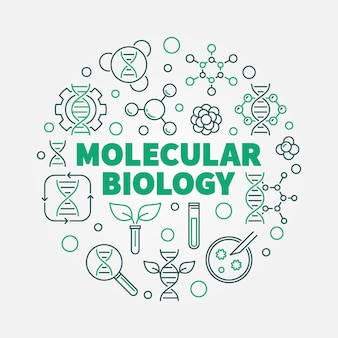 얇은 선 스타일에서 벡터 분자 생물학 라운드 개념 그림