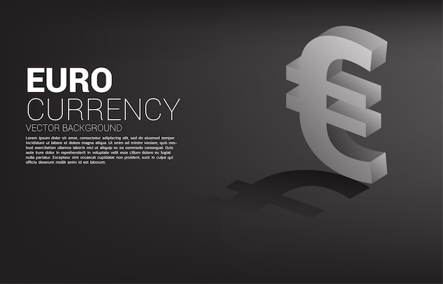 Vector money euro currency icon 3d with shadow
