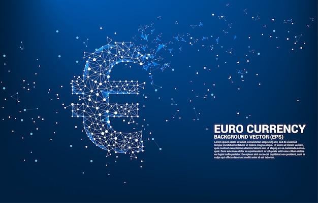 다각형 점에서 벡터 돈 유로 통화 아이콘 선 연결. 유럽 금융 네트워크 연결에 대 한 개념입니다.