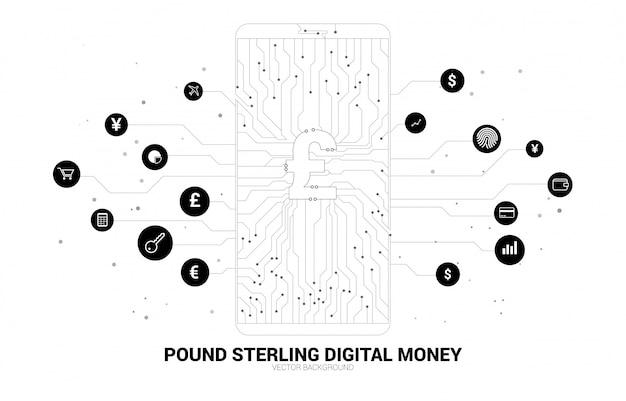 도트에서 휴대 전화 화면에 벡터 돈 파운드 스털링 연결 라인 회로 보드 스타일. 디지털 돈과 핀 테크에 대한 개념.