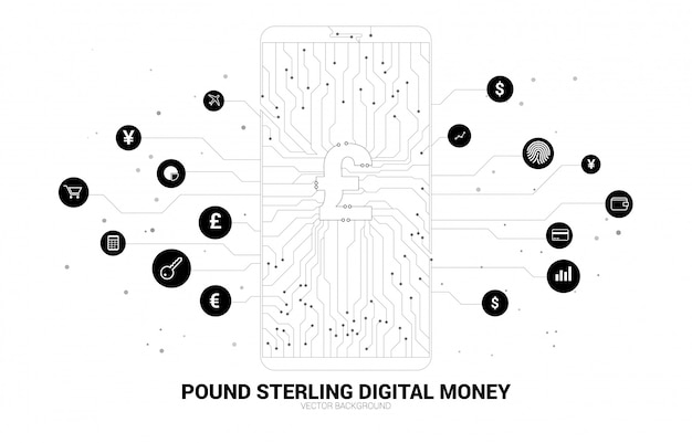 Vector money pound sterling in mobile phone screen from dot connect line circuit board style. concept for digital money and fintech.