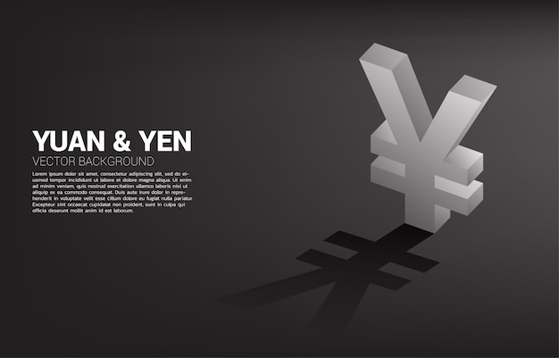 Vector money yen and yuan currency icon 3d with shadow