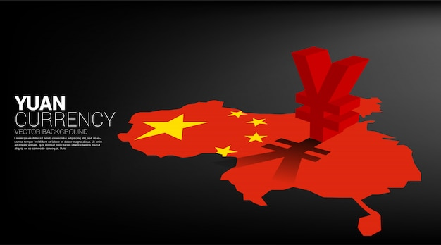 Vector money yuan currency icon 3d with shadow on china map. concept for china financial and banking.