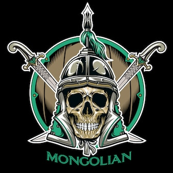 Vector of mongolian skull warrior emblem