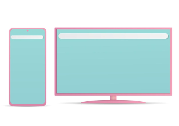 Vector of monitor and smartphone isolated on white