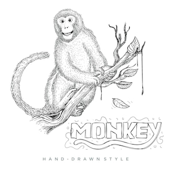 Vector of a monkey sitting on a tree trunk. hand drawn animal illustration