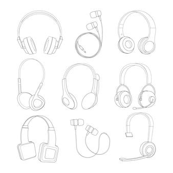 Vector mono line pictures set of headphones