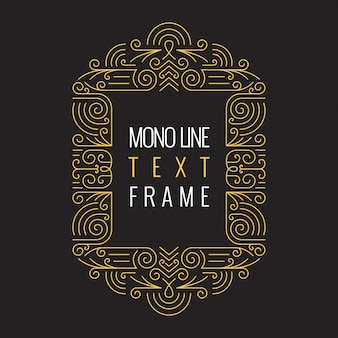 Vector mono line style geometric frame template for text.