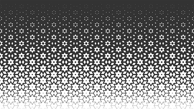 Vector monochrome seamless pattern. repeating geometric background in arabic style with polygon, star, gradient. texture for web site backdrop, wallpaper, textile, fabric.