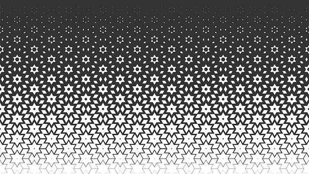 ベクトルモノクロシームレスパターン。ポリゴン、星、グラデーションでアラビア風の幾何学的な背景を繰り返します。 webサイトの背景、壁紙、テキスタイル、ファブリックのテクスチャ。