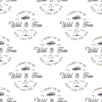 오래된 스타일의 서핑 자동차, 야자수, 바다 및 활판 인쇄 요소가 있는 벡터 단색 매끄러운 패턴입니다. 황야 벽지 디자인. 흰색 격리 된 배경입니다. 웹 디자인용, 티셔츠, 포장지