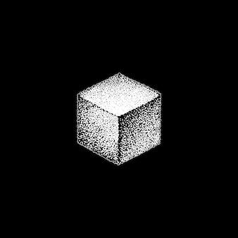 ベクトルモノクロホワイトレトロドットアート手描き立方幾何体積ブラックワークデザイン要素ヴィンテージタトゥースタイル装飾分離形状イラスト黒背景
