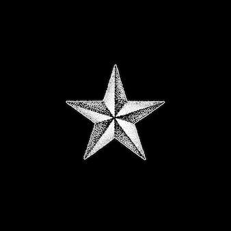 ベクトルモノクロ白レトロドットアート手描き星形ブラックワーク抽象デザインヴィンテージタトゥースタイル装飾孤立した図イラスト黒背景
