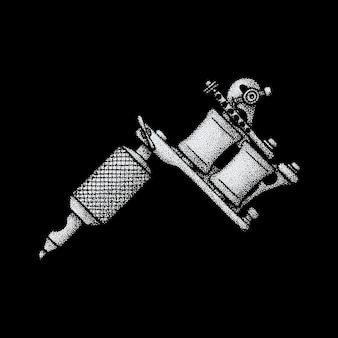 ベクトルモノクロホワイトレトロドットアート手描きタトゥーマシンブラックワークデザインヴィンテージタトゥースタイル装飾分離イラスト黒背景