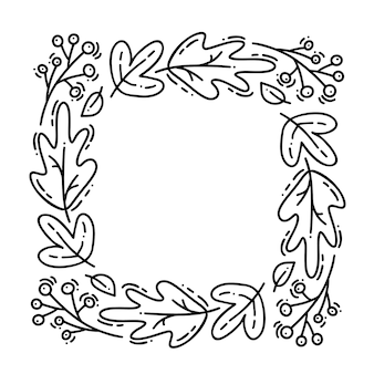 Vector monoline autumn wreath. bouquet frame with leaves, berries and other autumnal elements