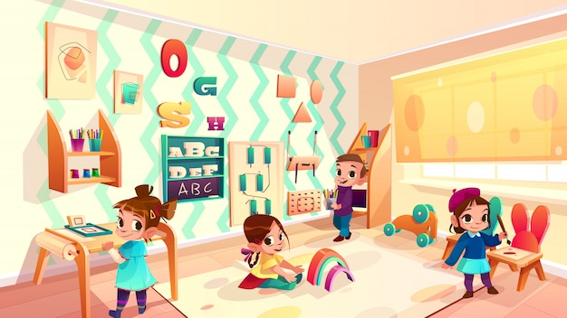 Vector montessori room with children, elementary school background