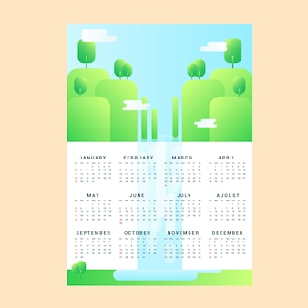 Vector monthly calendar with awesome lanscape,, a4 print