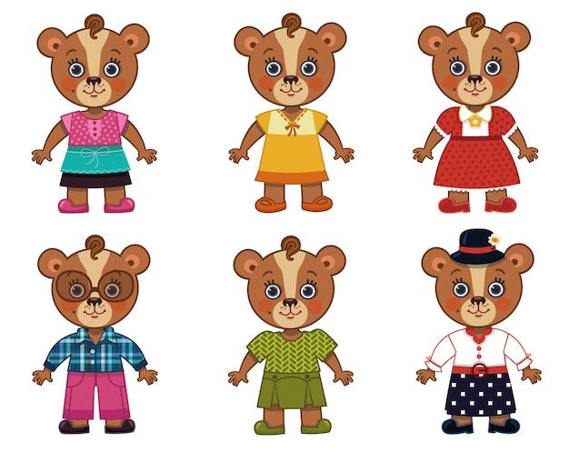 Векторная иллюстрация медведя-матери с различными костюмами для игр на одевание
