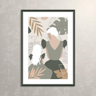 Vector mother and daughter silhouette illustration