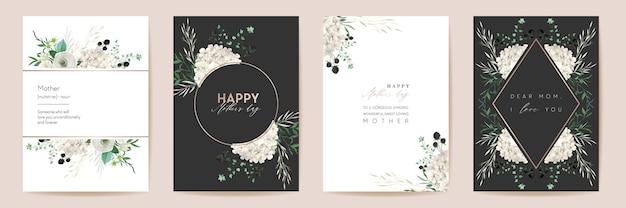 Вектор день матери элегантные цветочные поздравления. набор акварели классические цветы кадр. весенний цветочный дизайн для материнской вечеринки, женский золотой шаблон. современный плакат, открытка-баннер для мамы, приглашение на природу