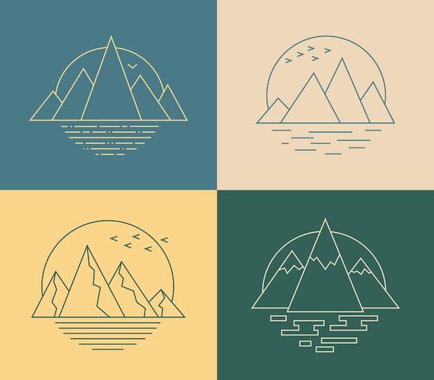 ラインアートスタイルのベクトル山アイコン様式化された自然の風景とシンプルな幾何学的なエンブレム