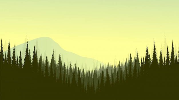 Vector mountain landscape with pine forest