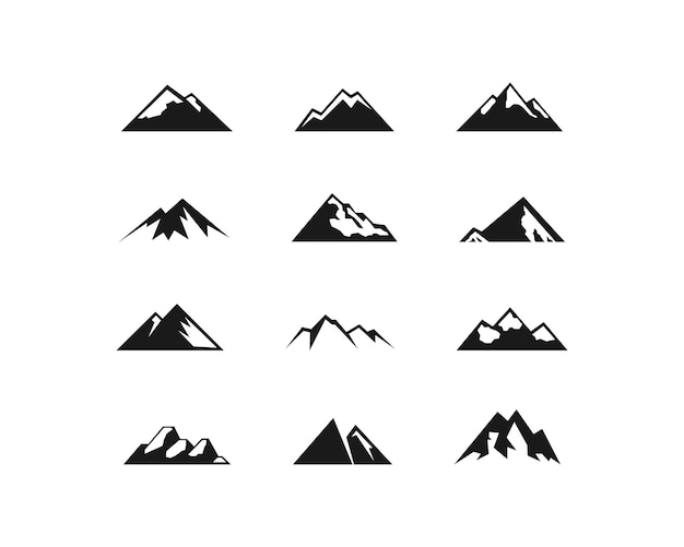 Набор векторных иконок горы. символ формы горы изолирован. eps10 вектор
