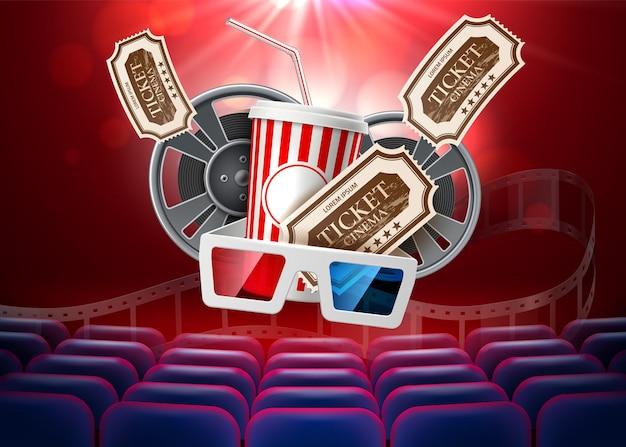 Vector movie cinema poster popcorn tape glasses