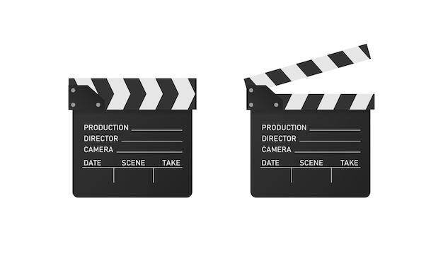 Vector movie clipper in realistic style. open and close cinema clapper board.