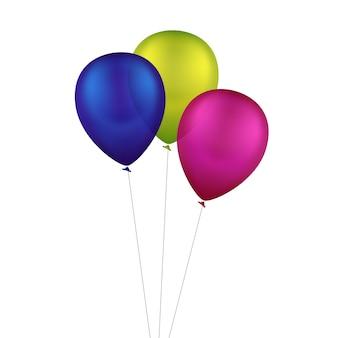 分離されたベクトル色とりどりのカラフルな風船 Premiumベクター