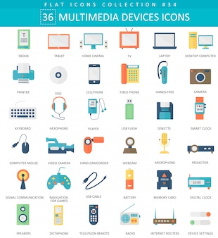 Vector multimedia devices flat icon set. elegant style design.