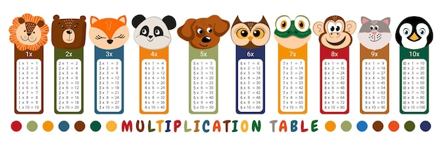 Vector multiplication table. children's design. printable bookmarks or stickers with cute animals (bear, penguin, lion, fox, panda, dog, owl, frog, monkey, cat)